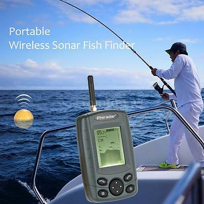 FF168W Rechargeable Wireless Fish Finder 125KHz Sonar Sensor Echo Sounder P3D9