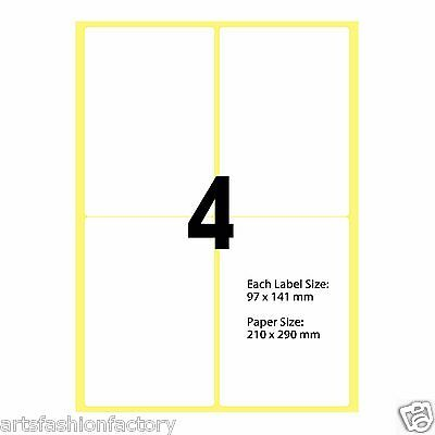 White Glossy A4 Self Adhesive Sticker Paper Sheet Blank - 4 Labels per sheet