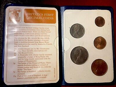 1968 Britain First Decimal Set of Unc. 5 Coins + Original Royal Mint Holder