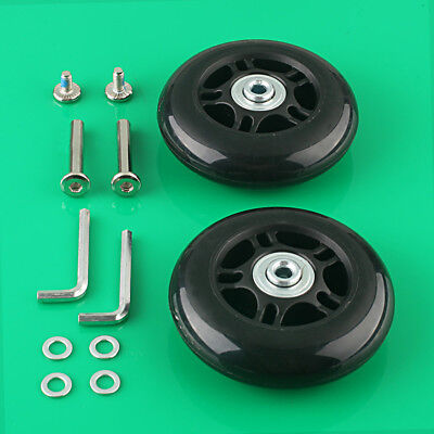 2 Set Luggage Suitcase Replacement Wheels Axles Deluxe Repair OD 80mm New