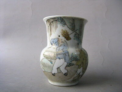 Nice Chinese Antique Famille Rose Porcelain Pot With Greybeard