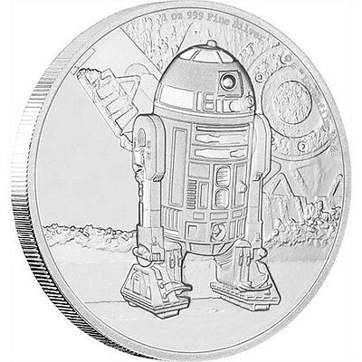 2016 $2 Niue Star Wars: - R2D2 - 1 oz Silver Proof Coin New Zealand Mint