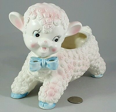 Vintage Nursery Baby Lamb Sheep w/ Blue Bow Ceramic Pottery Planter