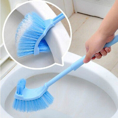1x Long Handle Plastic Brush Toilet Bowl Scrub Double Side Bathroom Cleaner 2016