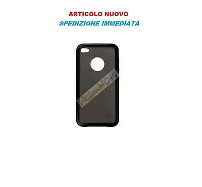 COVER Custodia POSTERIORE RIGIDA TPU E POLICARBONATO Per Apple iPhone 4 NERA