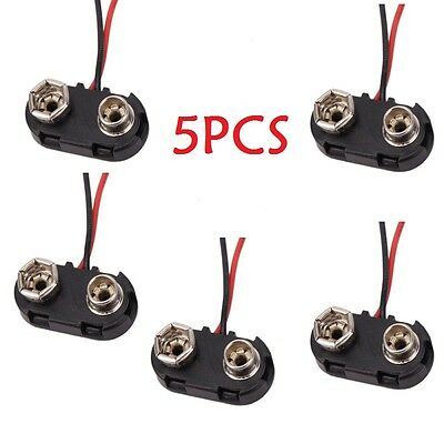 "5X New Hard Shell Snap On 9V(9 Volt) I-Type Battery Connector Clip +6""Leads Wire"