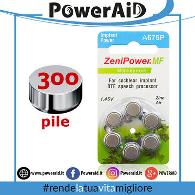 300 pile Cocleari ZeniPower A675P Implant Power - Batterie for Cochlear BTE