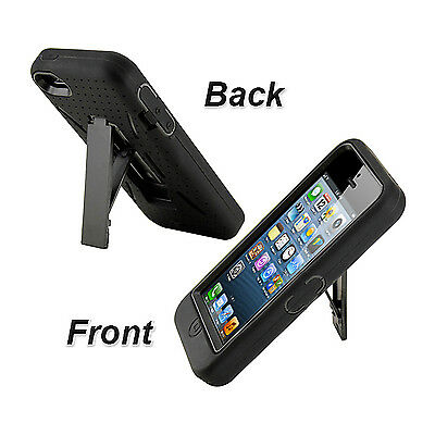 Hard & Soft Rubber High Impact Hybrid Armor Kickstand Case Cover For iPhone 5 5S