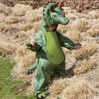 New Kids Green Deluxe Triceratops Dinosaur Soft Fancy Dress Costume Outfit