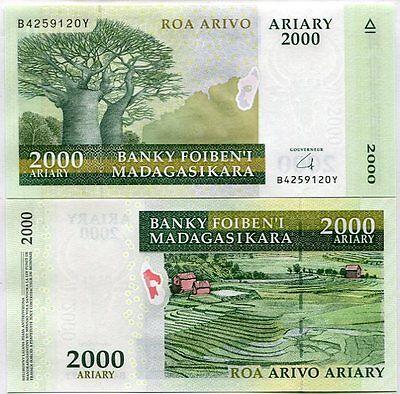 Madagascar 2000 2,000 Ariary 2004 (2016) P New Sign Hybrid Unc