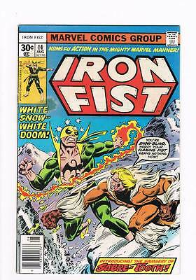 Iron Fist # 14  First appearance of Sabretooth !  grade 5.0 scarce book !