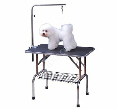 Dog Pet Folding Grooming Table Foldable Adjustable Arm Non Slip Surface New