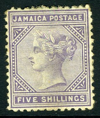 JAMAICA-1875 5/- Lilac Perf 12½  Sg 15 AVERAGE MOUNTED MINT V11208