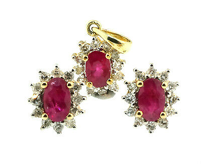 9ct Yellow Gold Oval Ruby & Diamond Halo Pendant & Earring Set