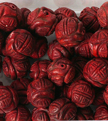 Pack of 5 Carved Coral 16mm Beads for Jewellery Making (T40L)