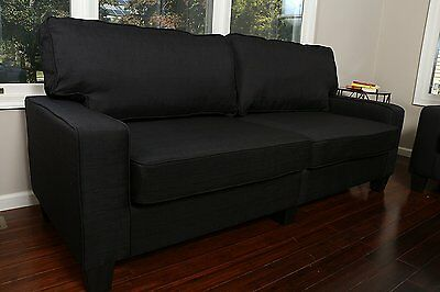 BLACK FABRIC SOFA Couch Love Seat College Dorm Apartment Living Room Modern  73\