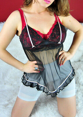 SHEER mesh lacy frilly Chiffon  Victorias Secret nightie cami S dress top