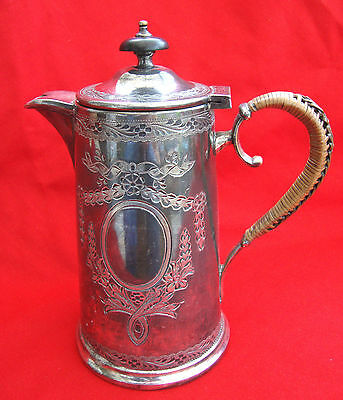 A Vintage Antique Engraved Silver Plated Epbm Stylish Coffee Pot Wicker Handle