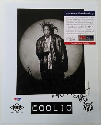 COOLIO AUTOGRAPH SIGNED INSCRIBED 8x10 PROMO PHOTO PSA/DNA COA TOMMY BOY RECORDS