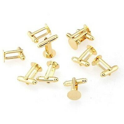 Gold Colour Round Blank Cufflinks Cuff Link Backs Pair Wholesale Craft Base UK