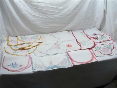 Lot Embroidered Crochet Counter Pane/Place Many Table Cloth Runner Needlepoint