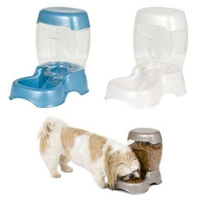 Petmate Cafe Gravity Pet Feeder Dog Cat Puppy Food Bowl Blue White 1.4kg