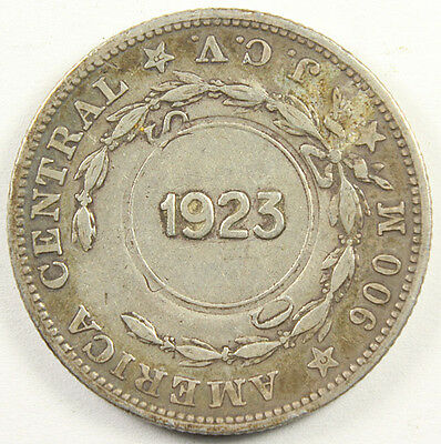 COSTA RICA SILVER COLON 1903-JVC with 1923 Counterstamps KM-164 Interesting