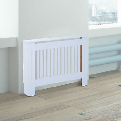 HOMCOM Radiator Cover Painted Slatted MDF Cabinet Lined Grill 112 x 19 x 81cm