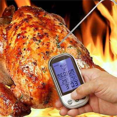 Programmable Wireless Remote Digital Thermometer Probe Meat BBQ Grilling NEW UK