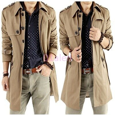Mens Long Autumn Single-breasted Slim Fit Coat Outwear Parka Trench Chic Jackets