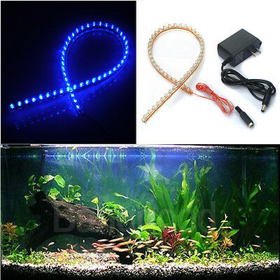48 LED 48cm Bande Strip Ruban Souple Feux Flexible BLEU AQUARIUM 12V Adaptateur
