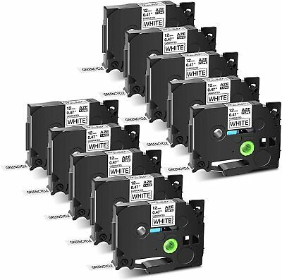 "2PK Black on White Label Tape TZ231 TZe231 12mm (1/2"") 8m for Brother P-Touch"