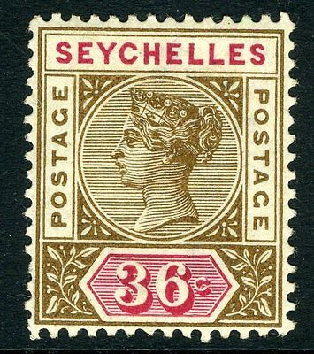 SEYCHELLES-1897-1900 36c Brown & Carmine Sg 32 MOUNTED MINT V11183