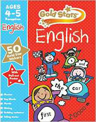 Gold Stars English Ages 4-5 (Preschool Workbook), New, Parragon Book