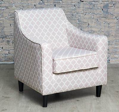 Contemporary Grey Beige Patterned Armchair Accent Chair Living Room Bedroom