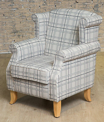 Traditional Wing Back Armchair Chair Check Fabric Bedroom Living Room Fireside