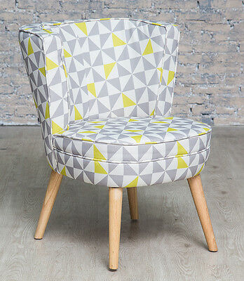Retro Geometric Skandi Accent Chair Grey Bedroom Living Room Armchair