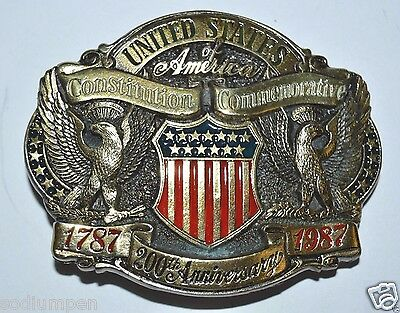 Vintage 1787 - 1987 200th Anniversary United States Constitution Belt Buckle