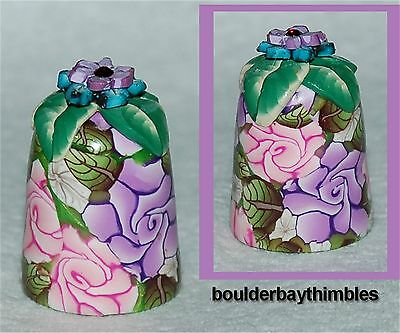 Boulder Bay Thimble -  PINK & PURPLE ROSES FLOWER TOP  #FT-04 NEW