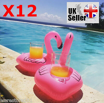 12 x Inflatable Pink Flamingo Floating Drink Can Holder Bath Party Pool Hot Tub