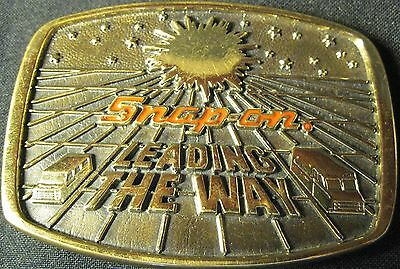 Vintage Snap On Tools 1988 LEADING THE WAY Limited Edition Brass Belt Buckle