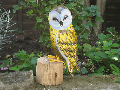 Wooden Hand Carved And Painted Large Owl Bird On Rustic Wooden Stand.....
