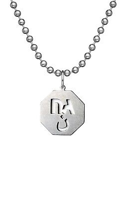 """G.I. JEWELRY, Official U.S. Military, NEVER AGAIN NAZARENE Necklace w/ 24"""" Chain"""