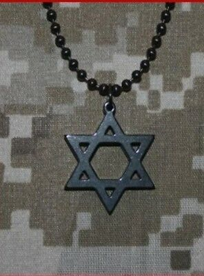 GI JEWELRY - STAR OF DAVID  Black Titan-Kote, Military Pendant Limited Edition