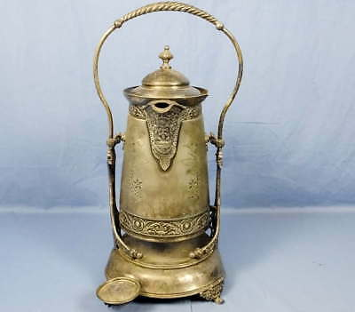 Victorian Porcelain Lined Meriden Silverplate Tilting Water Pitcher w/Stand