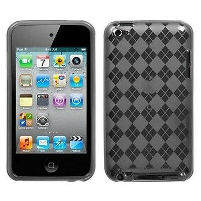 New Argyle Checker TPU Case Cover Shield for Apple iPod Touch 4th Gen 4G Grey