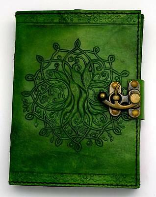 "5""x7"" Green TREE OF LIFE Leather Book of Shadows, Journal, Diary!"