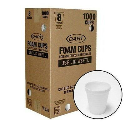 White Styrofoam Cups 8 oz 1000 pc Insulated Beverage Restaurant, Wedding, Party