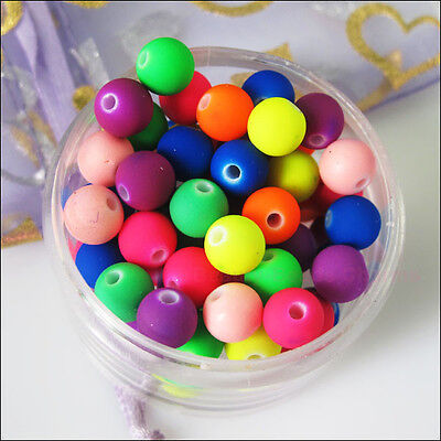 50Pcs Fluorescence Mixed Acrylic Plastic DIY Round Ball Spacer Beads Charms 8mm