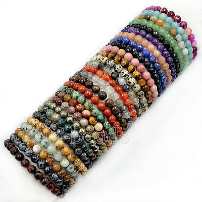 """Faceted Natural Gemstone Round Beads Bracelet 7.5"""" Fashion 4mm 6mm 8mm 10mm 12mm"""